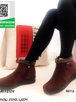 รองเท้าบูทสั้นสีกาแฟ บุขน หนังกลับนิ่ม (สีกาแฟ )