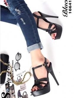 รองเท้าส้นสูง รัดข้อเท้า หนังนิ่ม สไตล์แบรนด์YSL-Tribute-Platfofm (สีดำ )