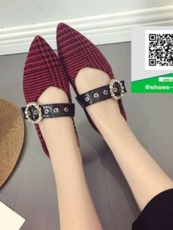 รองเท้าคัทชูส้นแบนสีแดง ผ้าลายสก๊อต (สีแดง )
