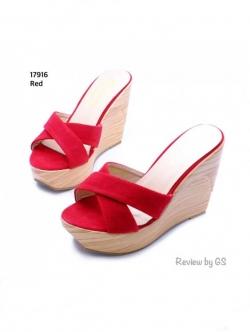 รองเท้าแตะส้นเตารีด ส้นไม้ สายคาดไขว้ (สีแดง )