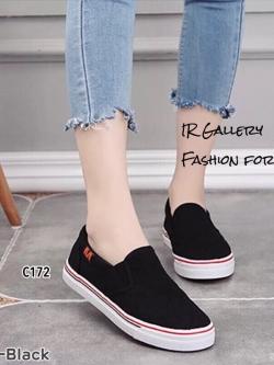 รองเท้าผ้าใบไร้เชือกสีดำ ผ้าแคนวาสลายตาราง (สีดำ )