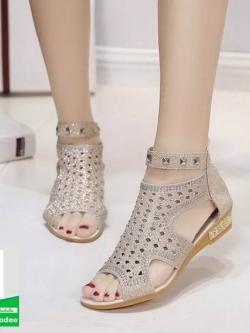 รองเท้าลำลองรัดข้อสีทอง Style Korea (สีทอง )