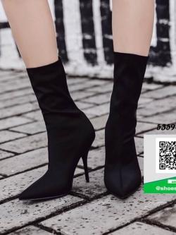 รองเท้าบูทส้นเข็มสีดำ ผ้าซาติน ยืดหยุ่น (สีดำ )