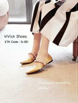 รองเท้าคัทชูส้นเตี้ยหัวแหลมสีทอง ผ้าซาติน งาน miu miu (สีทอง )
