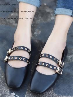 รองเท้าคัทชูส้นแบน หนังนิ่ม สไตล์MiuMiu (สีดำ )
