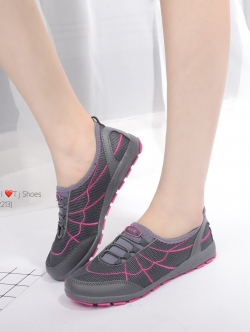 รองเท้าผ้าใบผู้หญิง เพื่อสุขภาพ แบบสวม น้ำหนักเบา STYLE SKECHER (สีเทา )