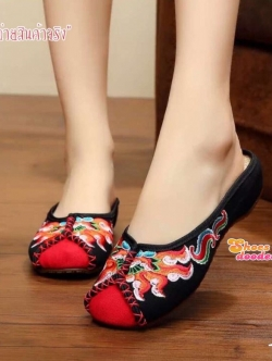 รองเท้าแตะเปิดส้นchinese style (สีดำ)