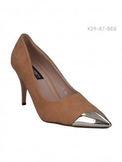 รองเท้าคัทชูส้นสูง หัวแหลมสีทอง (สีเบจ )