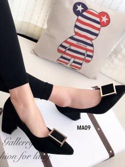 รองเท้าคัทชู ส้นสูง หัวแหลม ทรงสุภาพ (สีดำ )