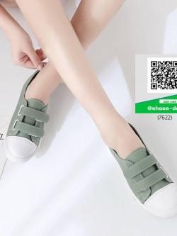 รองเท้าผ้าใบแฟชั่นสีเขียว หนังนิ่ม (สีเขียว )