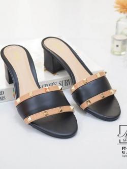 รองเท้าส้นตันเปิดส้นสีดำ style แบรนด์ valentino (สีดำ )