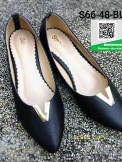 รองเท้าคัทชูส้นเตี้ยสีดำ Pointed Toe Flat (สีดำ )