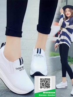 รองเท้าผ้าใบทรงมัฟฟินสีขาว งานนำเข้า สไตล์เกาหลี (สีขาว )