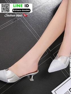 รองเท้าส้นสูงทรงสวย A1702-H2-SILVER [สีเงิน]