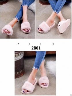 รองเท้าแตะ แบบสวม แต่งขนเฟอร์ น้ำหนักเบา (สีชมพู )