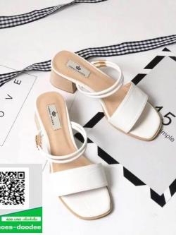 รองเท้าส้นตันสีขาว รัดส้น ส้นไม้สวยเกร๋ (สีขาว )