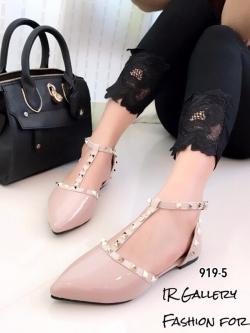 รองเท้าส้นแบนหัวแหลมรัดส้นสีชมพู สายคาด T-Strap Style Valentino (สีชมพู )