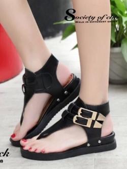รองเท้าส้นแบน สไตล์เกาหลี (สีดำ )