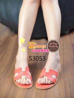 รองเท้าแตะ แบบสวม สไตล์H (สีส้ม )