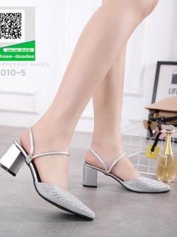 รองเท้าส้นตันเปิดส้น หัวแหลม B7010-5-SIL [สีเงิน]