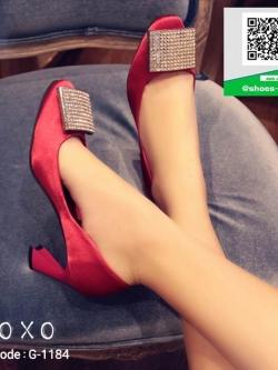 รองเท้าคัทชูหัวกลมสีแดง สไตล์Roger Vivier (สีแดง )