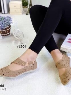 รองเท้าคัทชูแบบสายรัด ฉลุลาย แนววินเทจ (สีกากี )