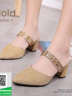 รองเท้าส้นตันหัวแหลมสีทอง หนังนิ่มผสมกริตเตอร์ (สีทอง )