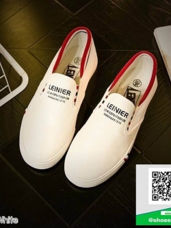 รองเท้าผ้าใบแฟชั่นสีขาว แบบสวม ขอบแบบยืดได้ (สีขาว )