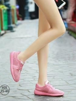 รองเท้าผ้าใบเสริมส้นสีชมพู ผ้าตาข่าย น้ำหนักเบา (สีชมพู )