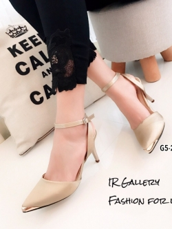 รองเท้าส้นเข็มรัดข้อสีทอง ผ้าซาติน หัวแหลมหุ้มสีทอง (สีทอง )