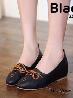รองเท้าคัทชูผู้หญิง หนังนิ่ม ผูกเชือก สไตล์วินเทจ (สีดำ )