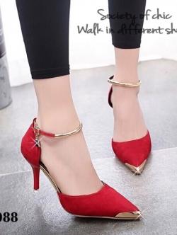 รองเท้าส้นสูง รัดข้อเท้า หัวแหลมสีทอง (สีแดง )