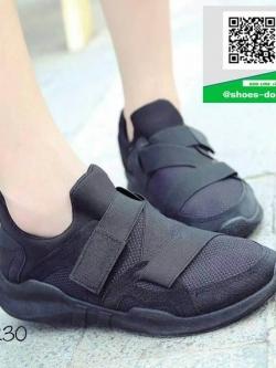 รองเท้าผ้าใบหุ้มข้อสีดำ แบบผูกเชือกแฟชั่น (สีดำ )