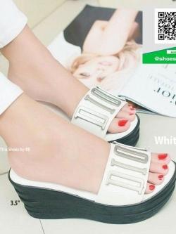 รองเท้าส้นเตารีดสีขาว สไตล์ลำลอง (สีขาว )
