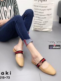 รองเท้าส้นเตี้ยเปิดส้นสีกากี แต่งอะไหล่ทอง GG (สีกากี )