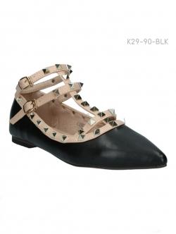 รองเท้าคัทชู สไตล์วาเลนติโน่ (สีดำ)