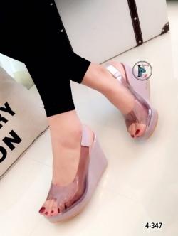 รองเท้าส้นเตารีด แบบสวม สายคาดใส (สีม่วง )