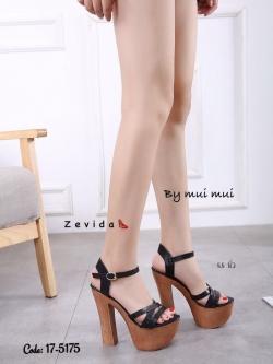 รองเท้าส้นสูงรัดส้นสีดำ ทรงหรู สไตล์เกาหลี (สีดำ )