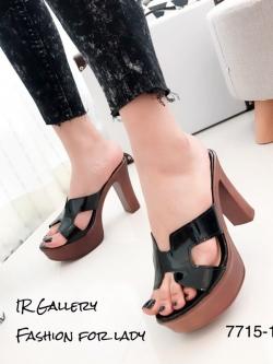 รองเท้าส้นสูงสีดำ เปิดส้น หนังนิ่ม Hermes (สีดำ )