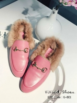 รองเท้าแตะส้นแบน แบบสวม เปิดส้น แต่งขนเฟอร์ (สีชมพู )