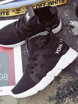 รองเท้าผ้าใบแฟชั่นสีดำ ผ้าตาข่าย ดีไซน์สวย (สีดำ )
