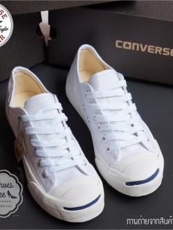 รองเท้าผ้าใบแฟชั่นสีขาว Converse Jack Purcell ทรงคลาสสิค งานเหมือนแท้ทุกจุด วัสดุผ้าcanvasเกรดดี งานคุณภาพ ตัวรองเท้าตีตราแบรนด์ พร้อมสกรีนโลโก้ เหมือน100% พร้อมกล่องคอนเวิร์ส