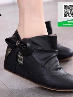 รองเท้ามินิบูทสีดำ แต่งข้างด้วยโบว์ สไตล์เกาหลี (สีดำ )