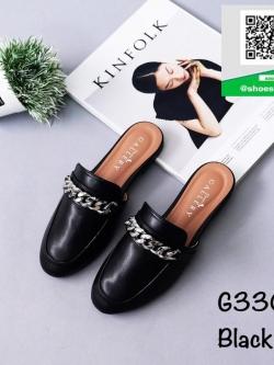 รองเท้าส้นเตี้ยสีดำ เปิดส้น ทรงสลิปเปอร์ (สีดำ )