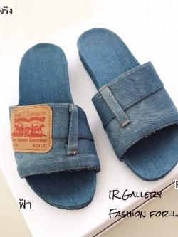 รองเท้าแตะแฟชั่นสีฟ้า เปิดส้น วัสดุผ้ายีนส์ฟอกแต่งป้ายหนัง (สีฟ้า )