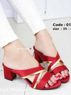 รองเท้าส้นตันสีแดง เปิดส้น Chunky Sandals (สีแดง )