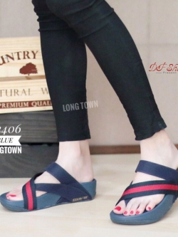 รองเท้าแตะเพื่อสุขภาพสีน้ำเงิน แบบคีบนิ้วโป้ง สไตล์ FITFLOP (สีน้ำเงิน )