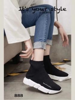 รองเท้าผ้าใบหุ้มข้อสีดำ สไตล์แบรนด์ Balenciaga 2017 (สีดำ )