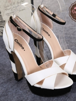 รองเท้าส้นสูงสีขาว แบรนด์CENTRO โรงงานผลิตส่งออกเป็นแบรนด์ของประเทศรัสเซีย เสริมหน้า 1นิ้ว