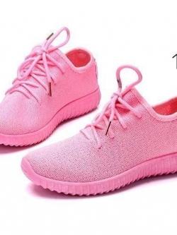 รองเท้าผ้าใบแฟชั่นสีชมพู ผ้ายืด ระบายอากาศได้ดี พื้นนิ่ม (สีชมพู )